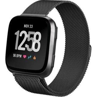 Merk 123watches Fitbit versa milanese band - zwart