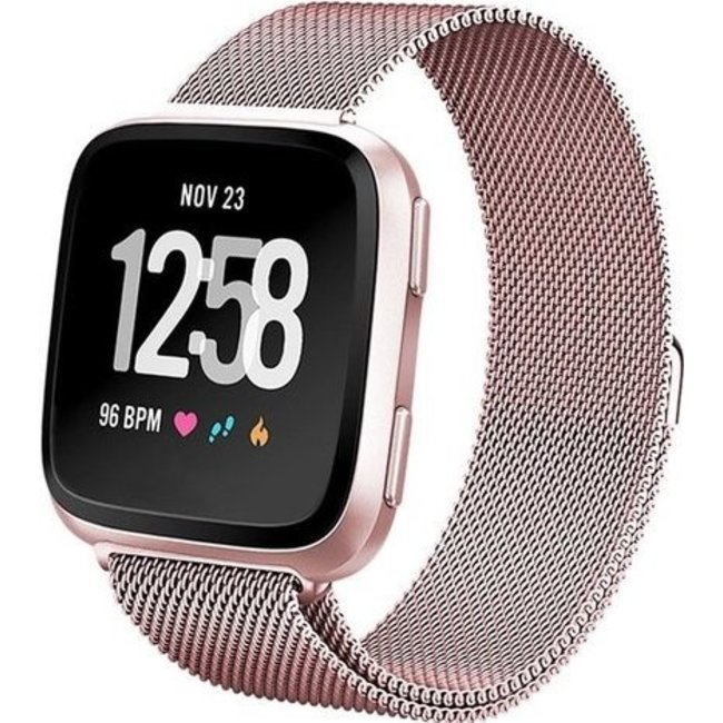 123Watches Fitbit versa milanese band - rose red