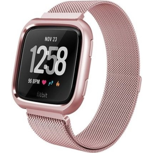 123Watches Fitbit versa milanese case band - rose red