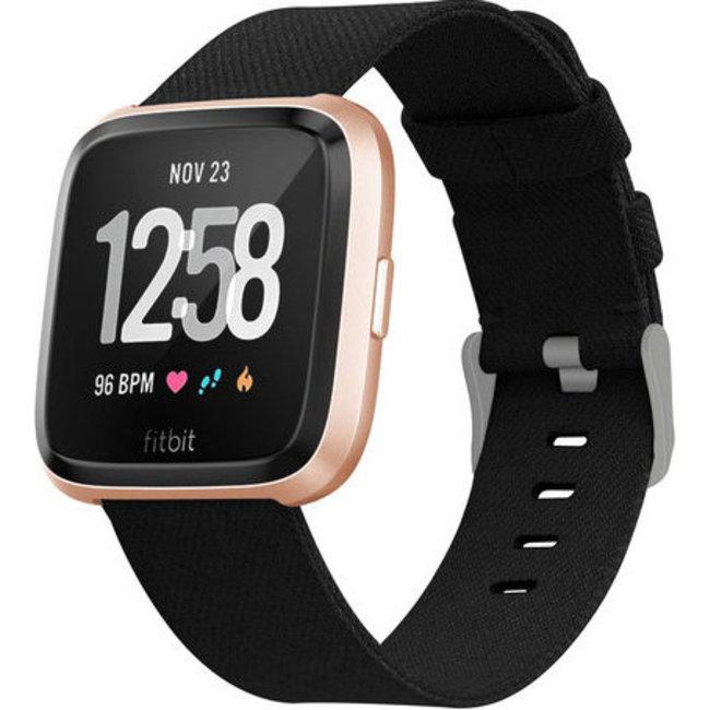 Merk 123watches Fitbit versa nylon gesp band - zwart