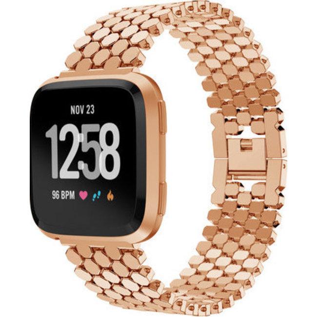 Merk 123watches Fitbit versa vis stalen schakel band - rose goud