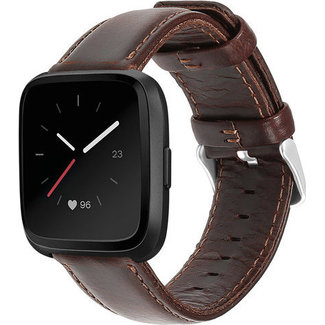 Merk 123watches Fitbit Versa genuine leren band - donkerbruin