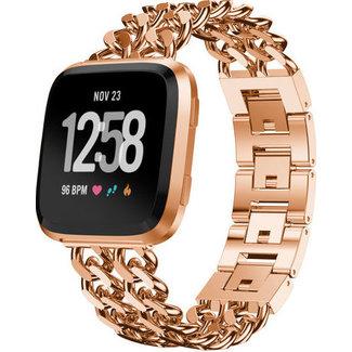 Merk 123watches Fitbit versa cowboy steel link band - rose gold