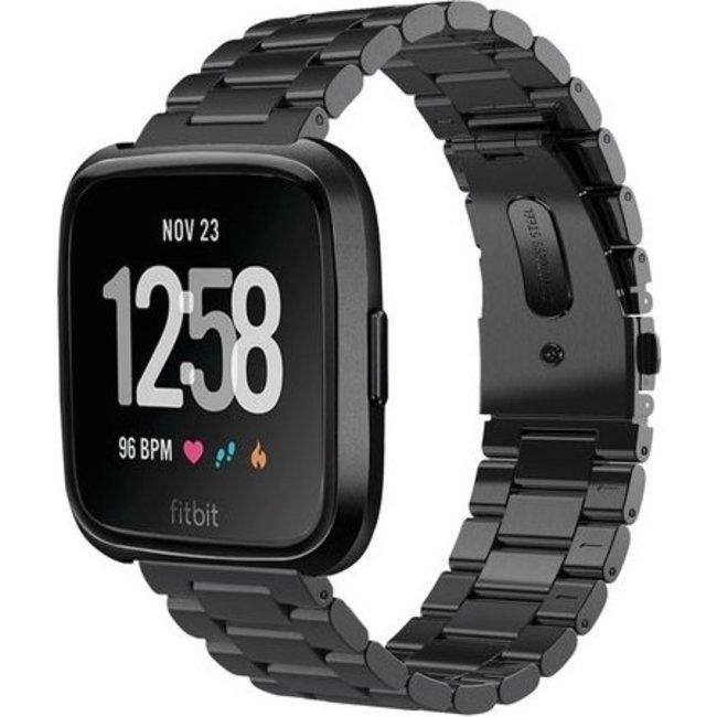 Merk 123watches Fitbit versa kralen stalen schakel band - zwart