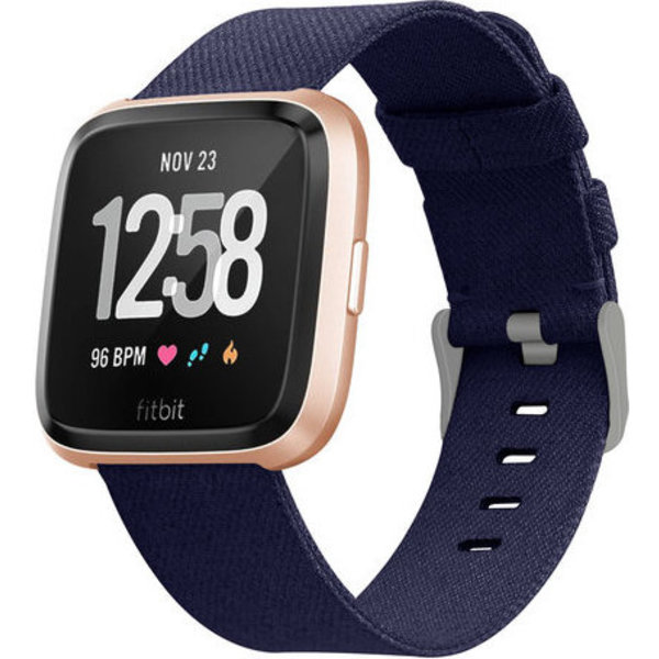 123Watches Fitbit versa nylon gesp band - blue