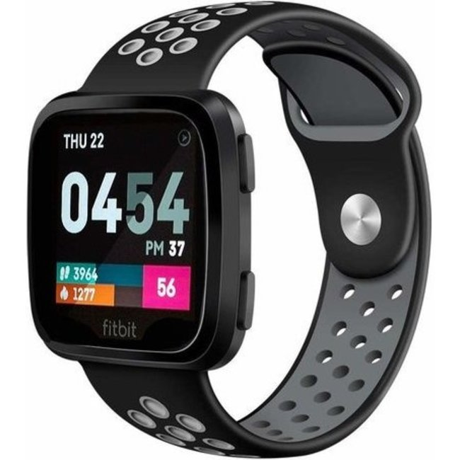 123Watches Fitbit versa double sport band - black gray