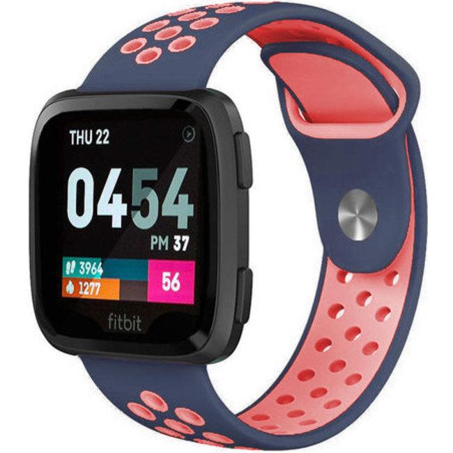 Merk 123watches Fitbit versa dubbel sport band - donkerblauw roze