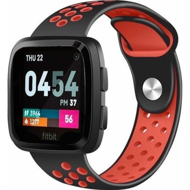 Fitbit versa double sport band - black red