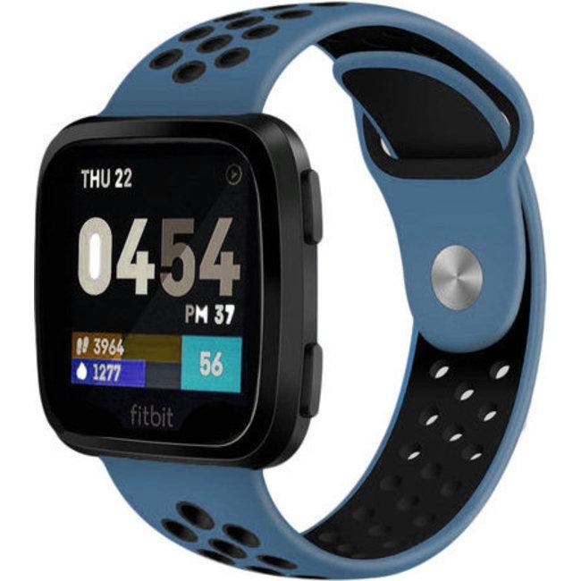 Merk 123watches Fitbit versa dubbel sport band - donkerblauw zwart