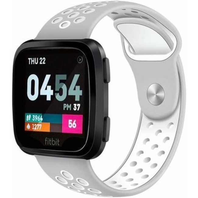 Merk 123watches Fitbit versa dubbel sport band - grijs wit