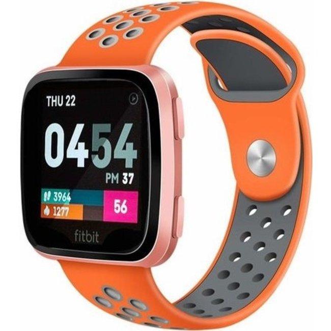 Merk 123watches Fitbit versa dubbel sport band - oranje grijs