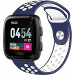 123Watches Fitbit versa dubbel sport band - donkerblauw wit