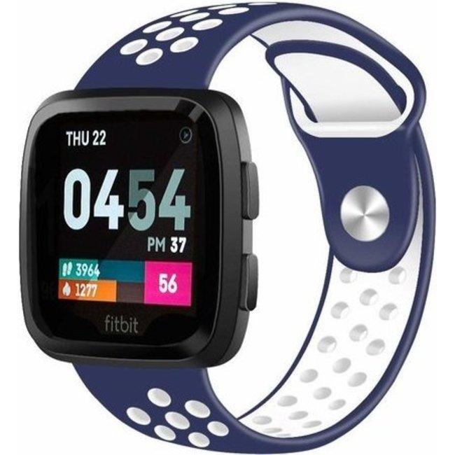 Merk 123watches Fitbit versa dubbel sport band - donkerblauw wit