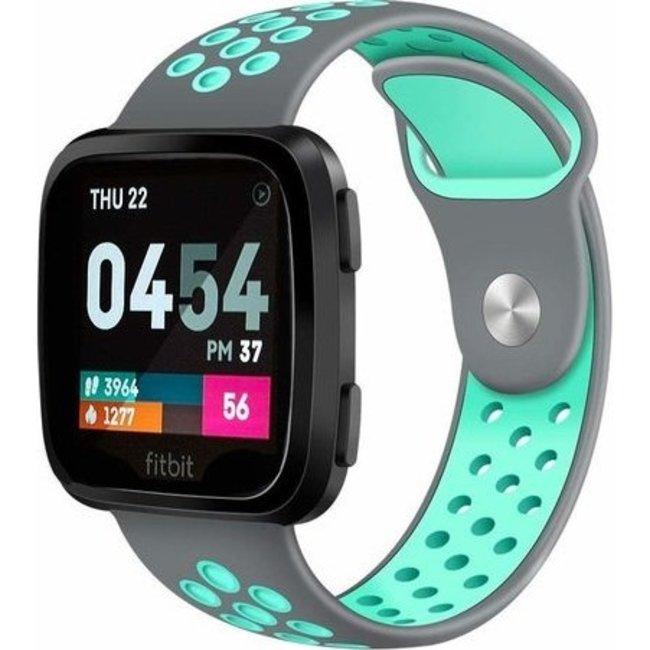 Merk 123watches Fitbit versa dubbel sport band - grijs blauw
