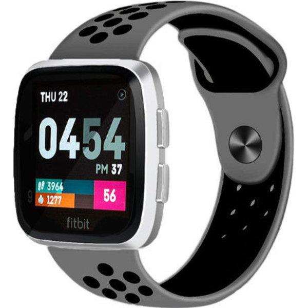 123Watches Fitbit versa dubbel sport band - grijs zwart