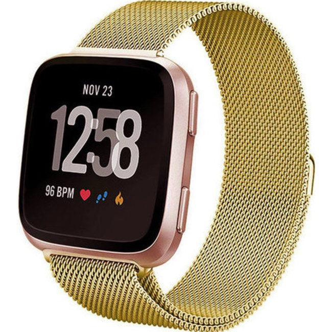 Merk 123watches Fitbit versa milanese band - goud