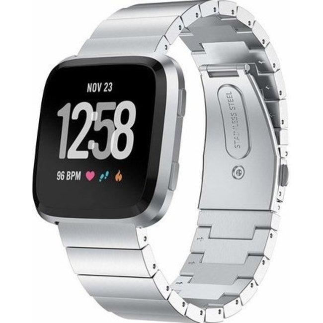 Merk 123watches Fitbit versa stalen schakel band - zilver