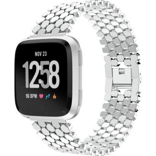 Merk 123watches Fitbit versa vis stalen schakel band - zilver