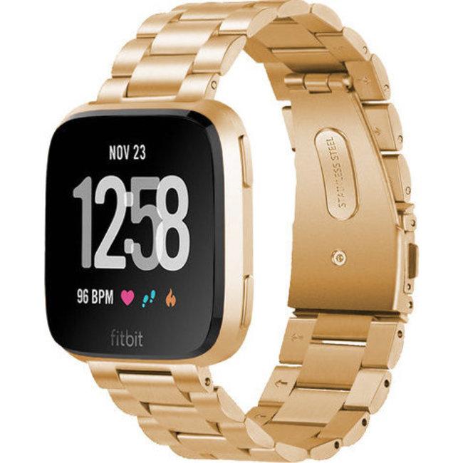 Merk 123watches Fitbit versa kralen stalen schakel band - rose goud
