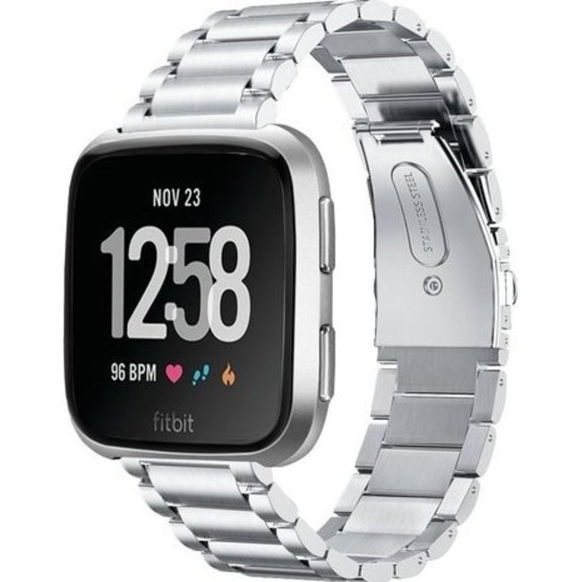 Merk 123watches Fitbit versa kralen stalen schakel band - zilver