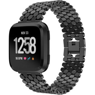 Merk 123watches Fitbit versa fish steel link band - black