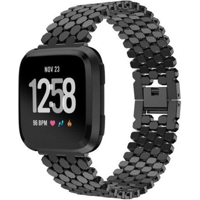 Merk 123watches Fitbit versa vis stalen schakel band - zwart