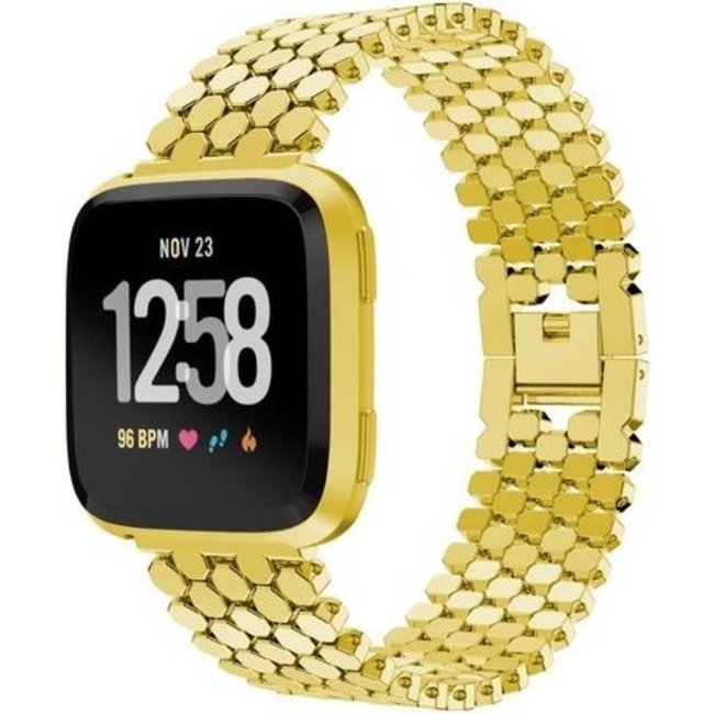 Merk 123watches Fitbit versa vis stalen schakel band - goud