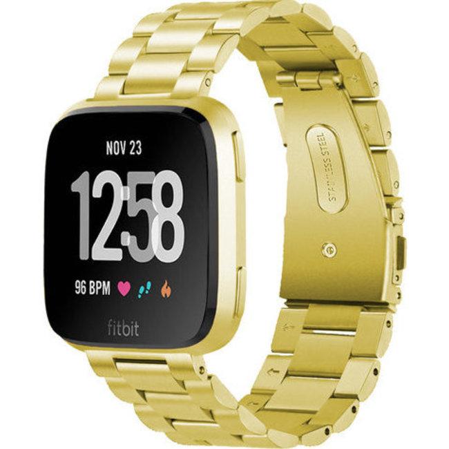 Merk 123watches Fitbit versa kralen stalen schakel band - goud