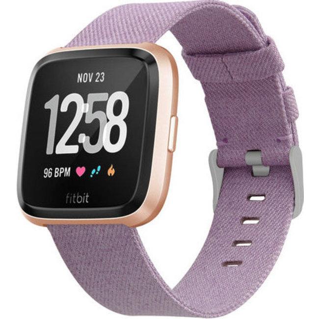 Merk 123watches Fitbit versa nylon gesp band - lavendel