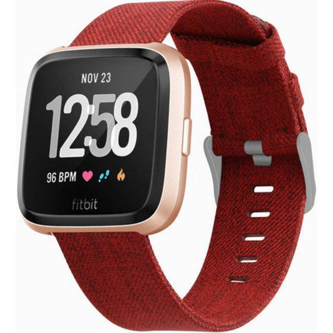 Fitbit versa nylon gesp band - rood