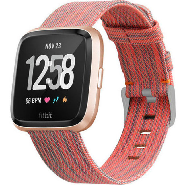 Merk 123watches Fitbit versa nylon gesp band - oranje gestreept