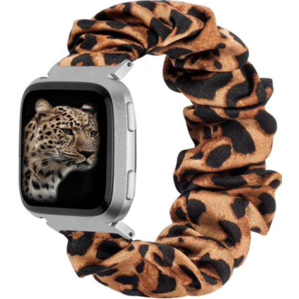123Watches Fitbit Versa scrunchie band - panther brown