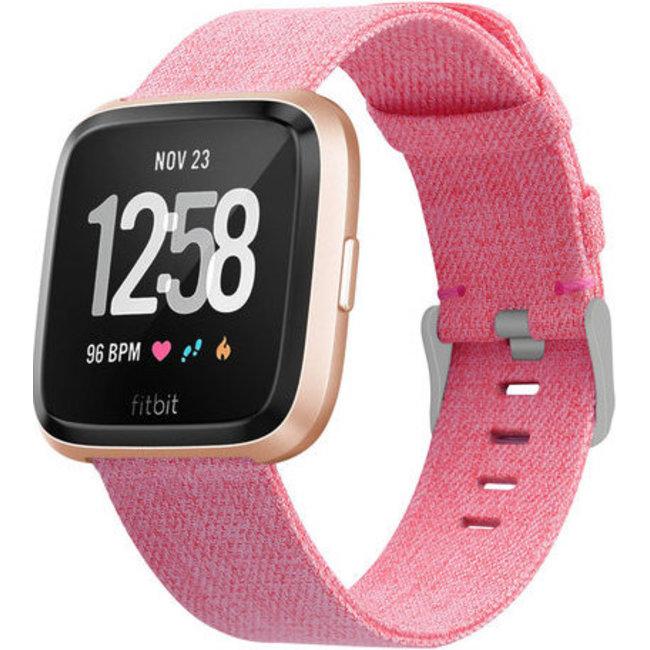 Fitbit versa nylon gesp band - roze