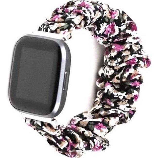 Fitbit Versa scrunchie band - bloemen paars