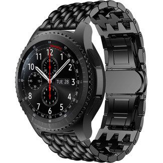 Merk 123watches Samsung Galaxy Watch draak stalen schakel band - zwart