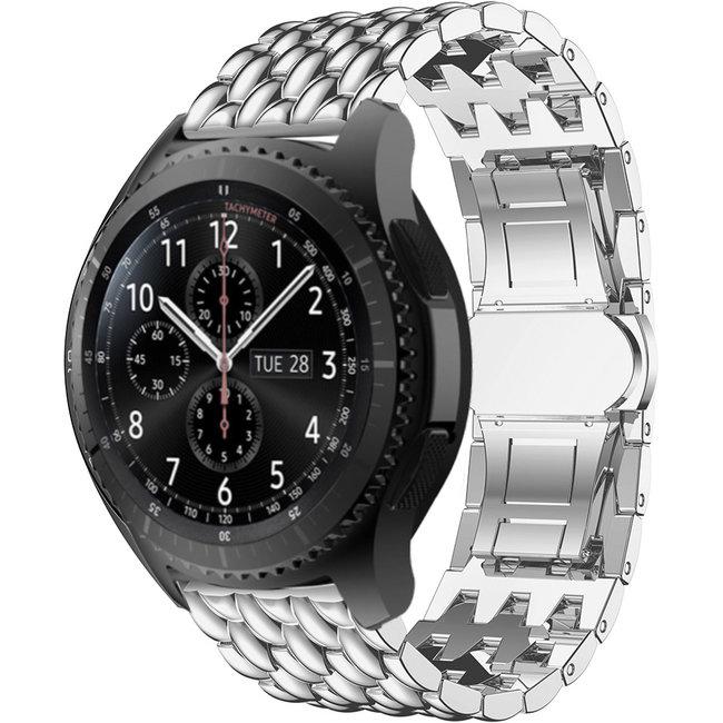 Merk 123watches Samsung Galaxy Watch draak stalen schakel band - zilver