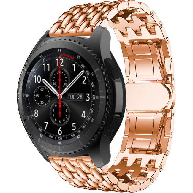 Merk 123watches Samsung Galaxy Watch draak stalen schakel band - rose goud
