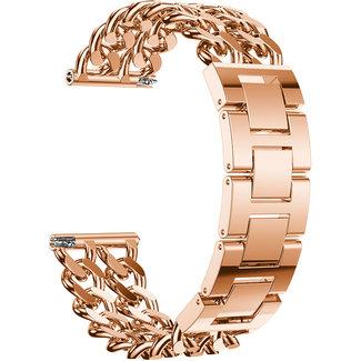 Merk 123watches Garmin Vivoactive cowboy stalen schakel band - rose goud