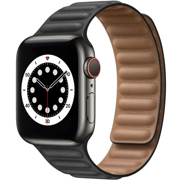 123Watches Apple watch PU leather solo band - black