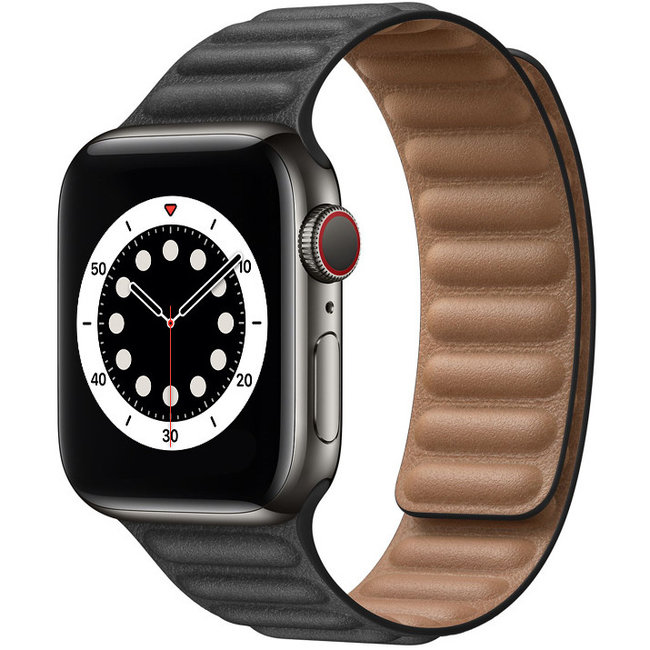 Merk 123watches Apple watch PU leather solo band - black