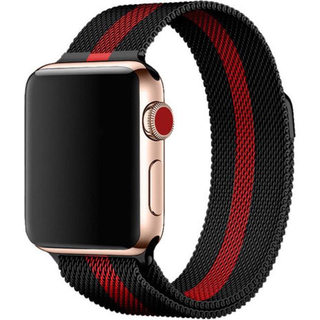 Merk 123watches Apple watch milanese band - zwart rood gestreept