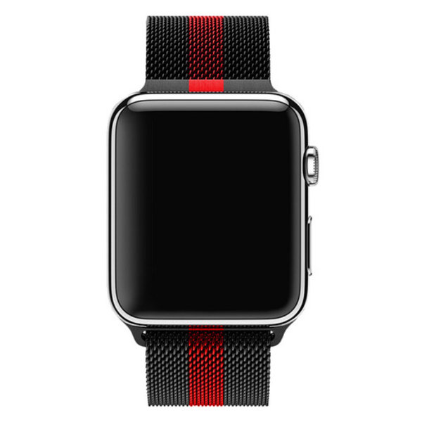 123Watches Apple watch milanese band - black red striped