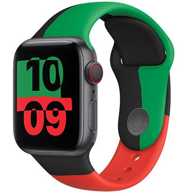 Apple watch sport band Black Unity - red green