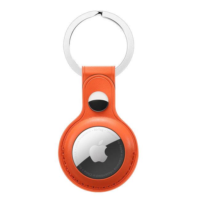 Merk 123watches AirTag PU leren sleutelhanger - oranje