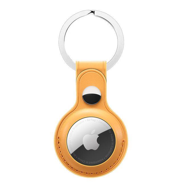 AirTag PU leather key ring - yellow