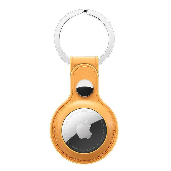 Merk 123watches AirTag PU leren sleutelhanger - geel