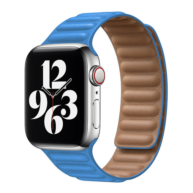 Merk 123watches Apple watch PU leather solo band - cape blue