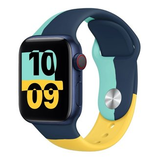 123Watches Apple watch sport band Black Unity - blue yellow