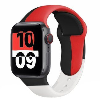 123Watches Apple watch sport band Black Unity - black red