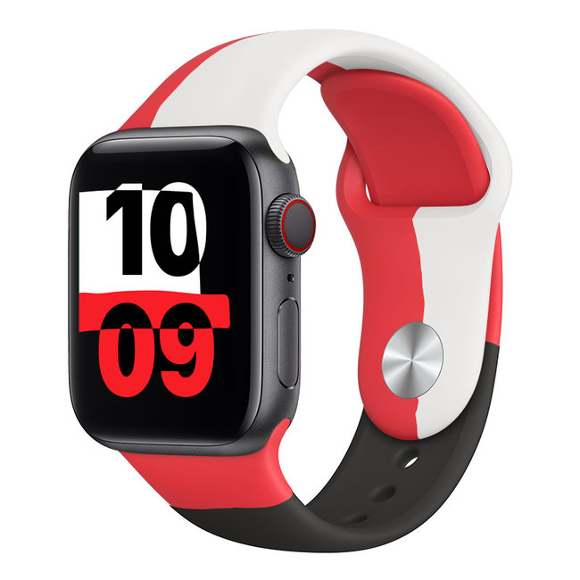 Apple watch sport band Black Unity - red white